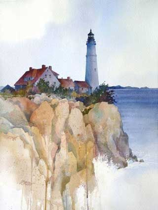 Alexis Lavine: Coastal Drama  Size: 19″ x 23″  Medium: Watercolor  Price: $600