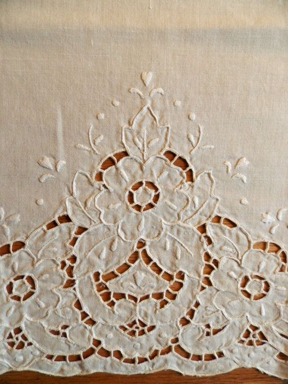 Pair of French Linen Cutwork Curtain Panels by JazzyMarie on Etsy ...