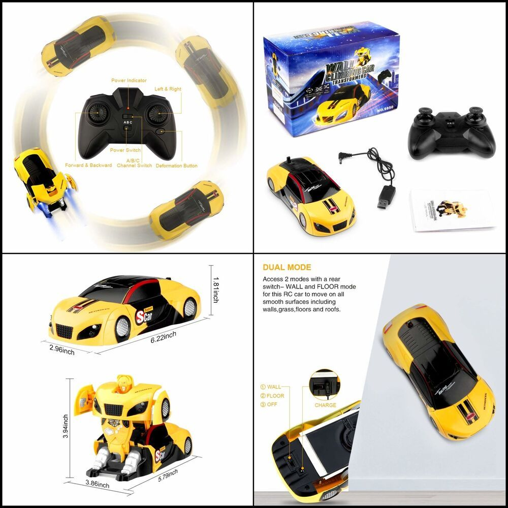 Remote Control Car Transforming Wall Climbing Vehicle Toy