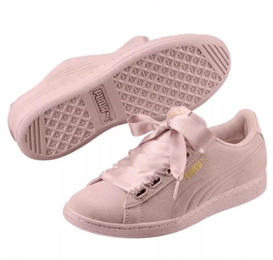 950c5d808b39 Puma Women s Vikky Ribbon Sneaker Suede Soft Foam Prism Pearl Pink Sz 7 NEW