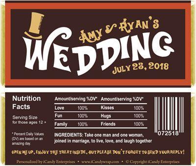 Wonka Inspired Wedding Candy Bar Wrers Favors