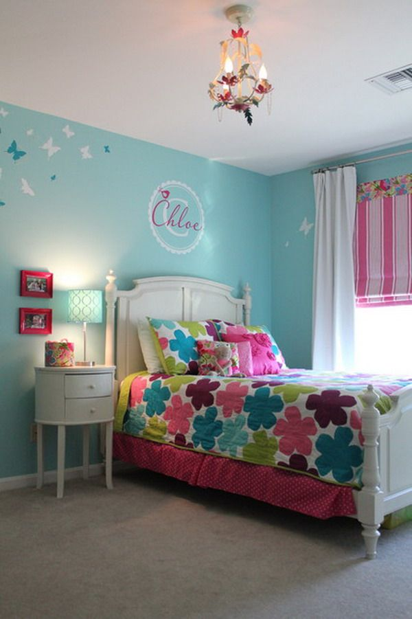 Girl Bedroom Colors. Classic  Color Infused Girls Bedroom traditional kids providence by Fresh Nest Design Like the blind and wall mural with name Girl bedroom