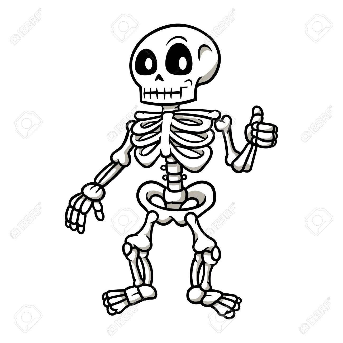 Cartoon Skeleton Giving A Thumbs Up Vector Illustration Em