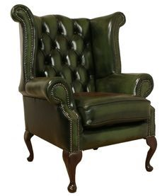 Chesterfield Armchair Queen Anne High Back Fireside Wing Chair Green Leather Ebay Stoelen Woonkamer Idee