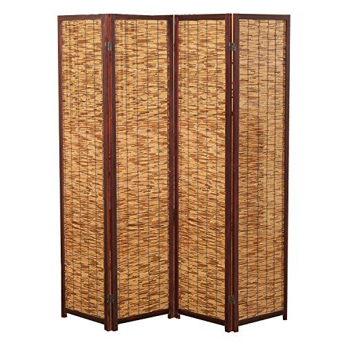 decorative brown wood u0026 bamboo 4 panel privacy screen folding partition room divider