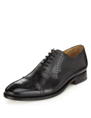 Marks and Spencer luxury sartorial Leather Toe Cap Brogue Shoes, black or brown