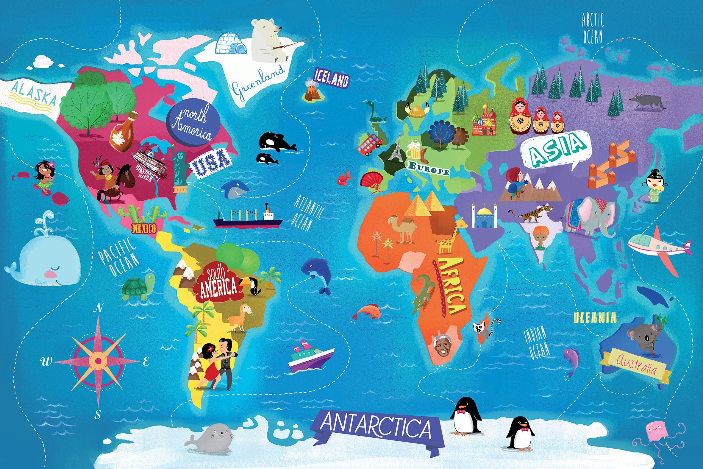 World Map Barbara Bongini Map World Globe Earth Planet - Usa globe map
