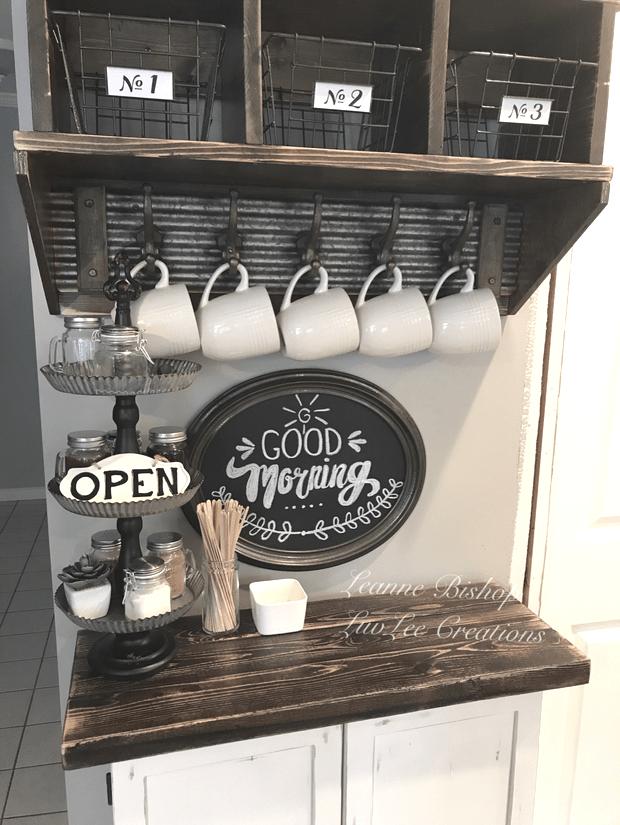 Rustic Farmhouse Coffee Rustic Farmhouse Coffee Bar Cabinet With Dark Wood C Daniela Coffee Bar Home Farmhouse Coffee Bar Diy Coffee Bar