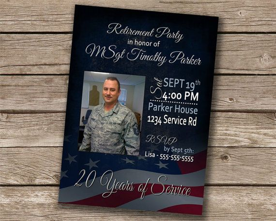this listing is for a 5x7 high resolution digital military retirement party invitation colors andor text can be changed price is 12 and includes color