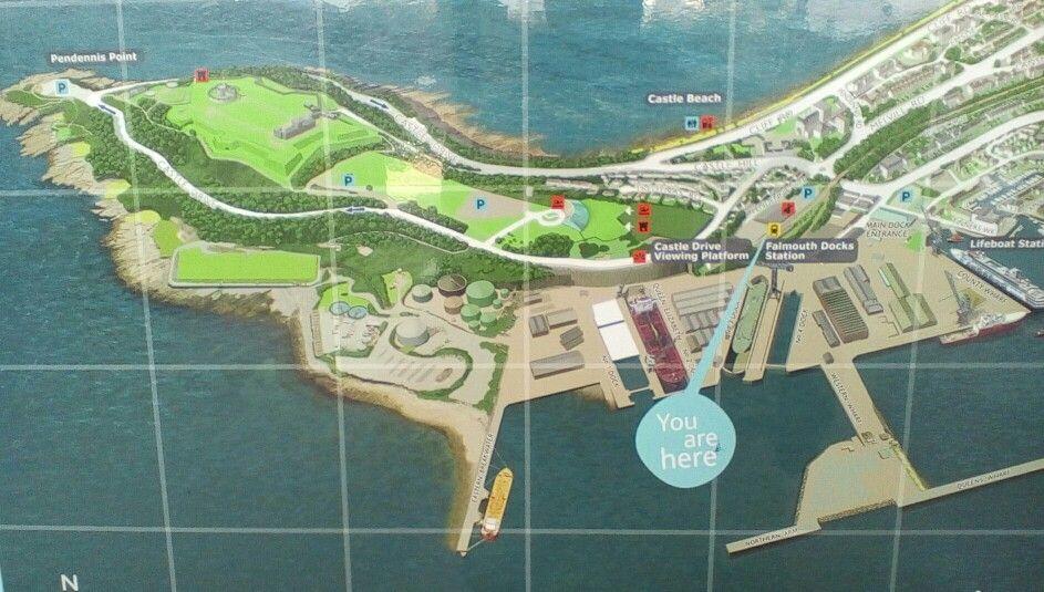 Map at Falmouth Docks station 2014
