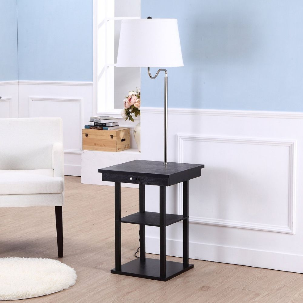 End Table With Lamp Built In Attached With Storage Living Room