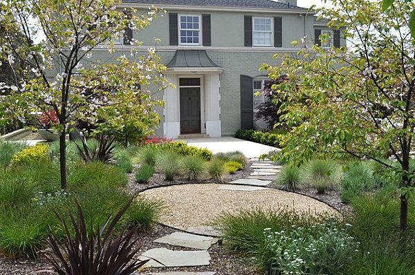 vorgarten gestalten beispiele kies trittsteine bäume | ideen rund, Garten und erstellen