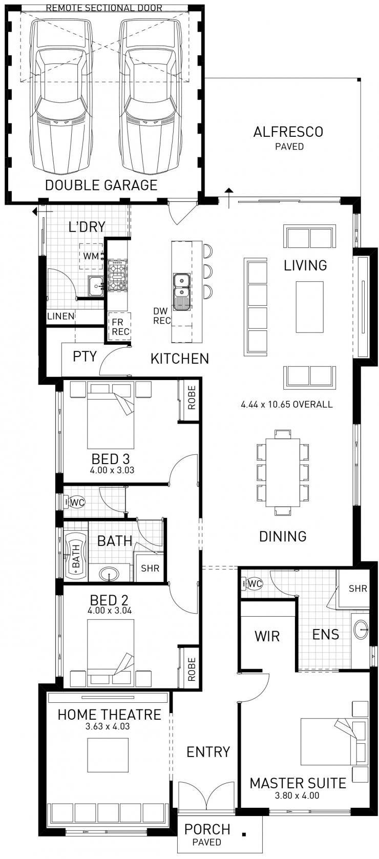 Horizon narrow single storey floor plan wa casa en for Single storey floor plan