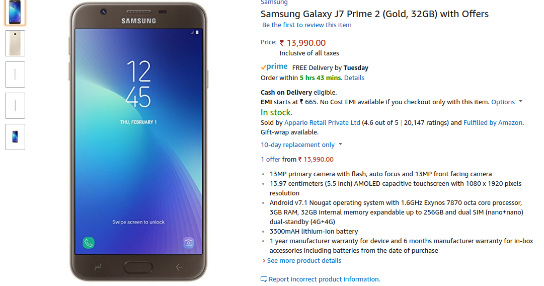 Samsung Galaxy J7 Prime 2 In Stock On Amazon India Galaxy Samsung Galaxy Samsung
