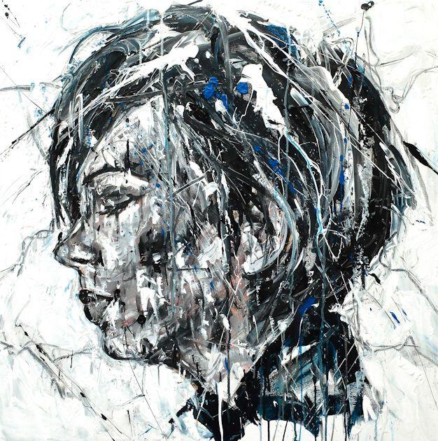 Lucile Callegari / WINTER / Acrylique et fusain sur toile, 80x80cm, 2016.