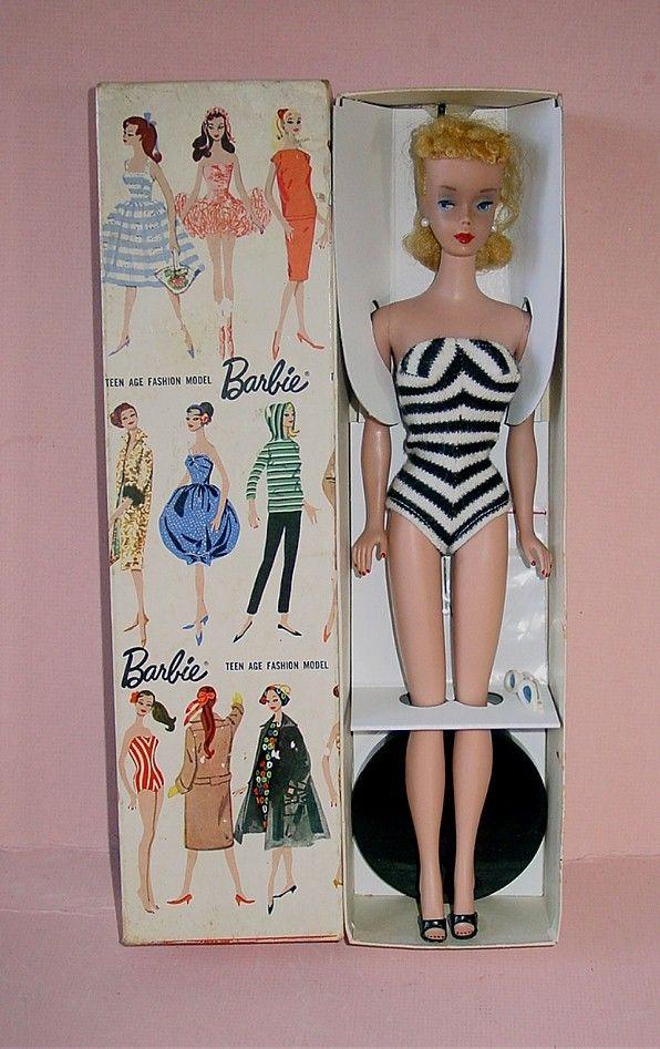 Vintage Blonde #4 PONYTAIL BARBIE ~ All Original W/ Pedestal Stand & Box