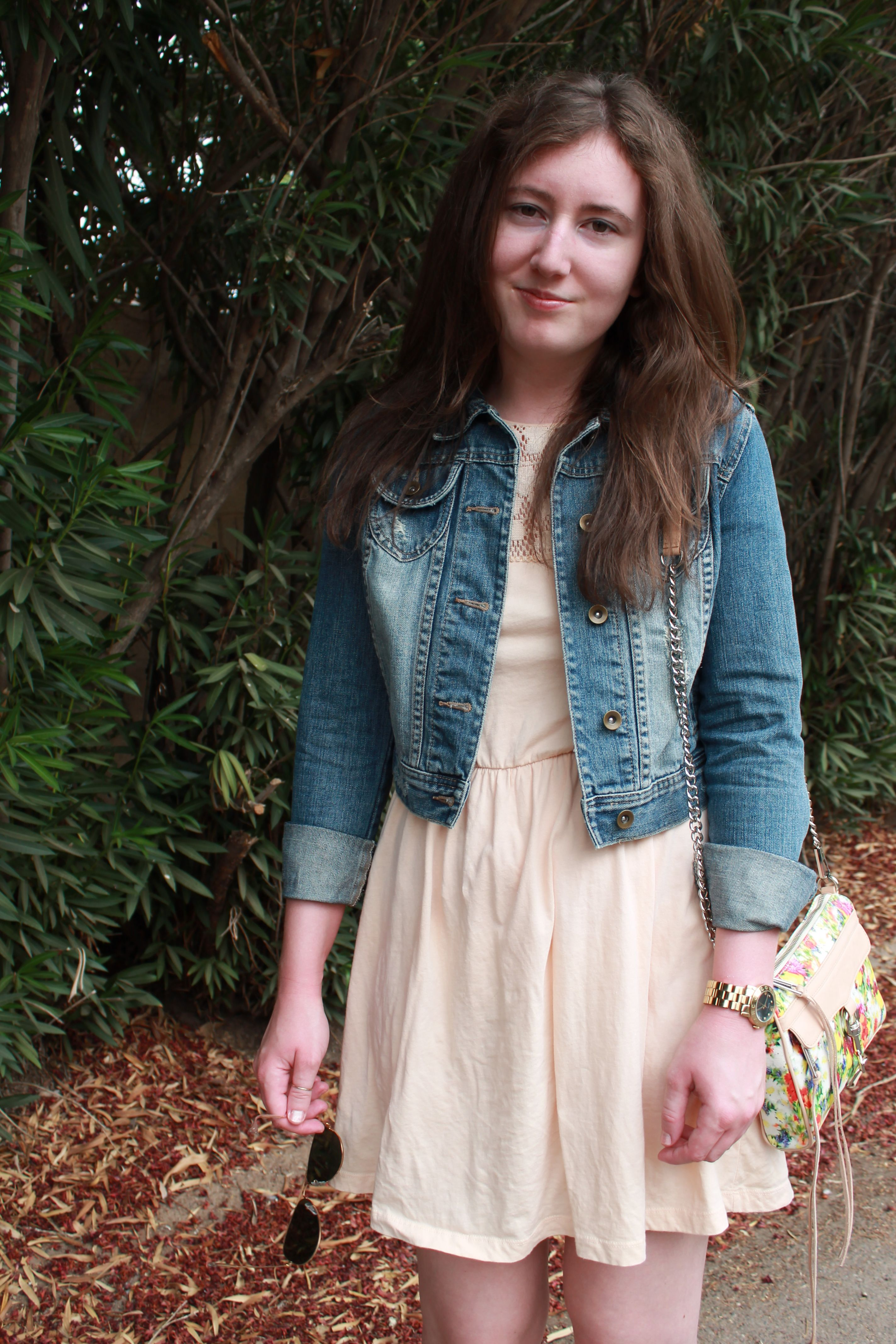Pink dress with jean jacket  Peach dress denim jacket  Style from the Blog  Pinterest  Peach