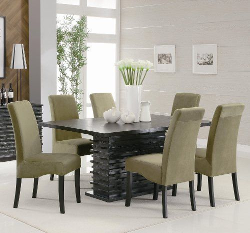 32 Stylish Dining Room Ideas To Impress Your Dinner Guests: 7PC Black Contemporary Dining Table Set