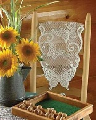 """Heritage Lace Butterflies Pattern 12 x 36"""" Table Runner White [24 in stock]  PRICE: $11.99"""
