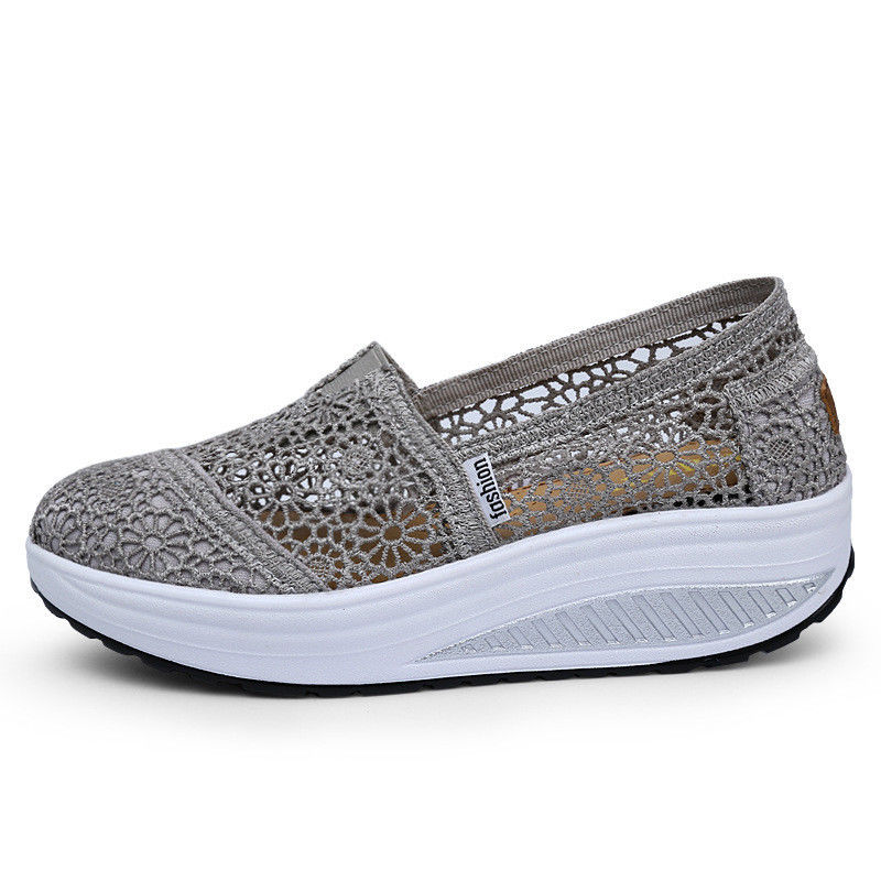 Women's Platform Sport casual Shoes Lace UP Shape Ups Toning Fitness Sneakers