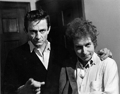 Johnny Cash . Bob Dylan- two of my favorite guys!!!