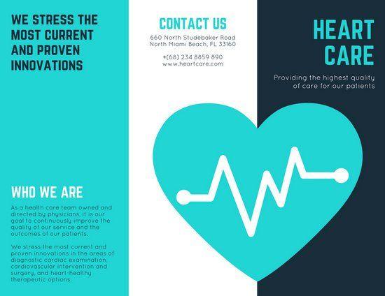 Turquoise Heart Vector Medical Brochure Canva Inspiration - medical brochures templates