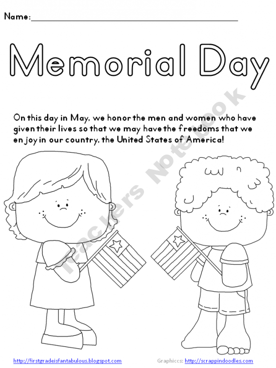 Memorial Day Coloring Page Freebie Free Prek 2nd Grade
