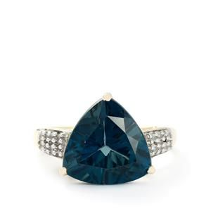 <strong>6</strong> - London Blue Topaz & White Zircon 9K Gold Ring ATGW 7.73cts