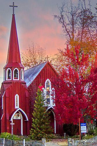 Red Church In The Fall - Sonora, California