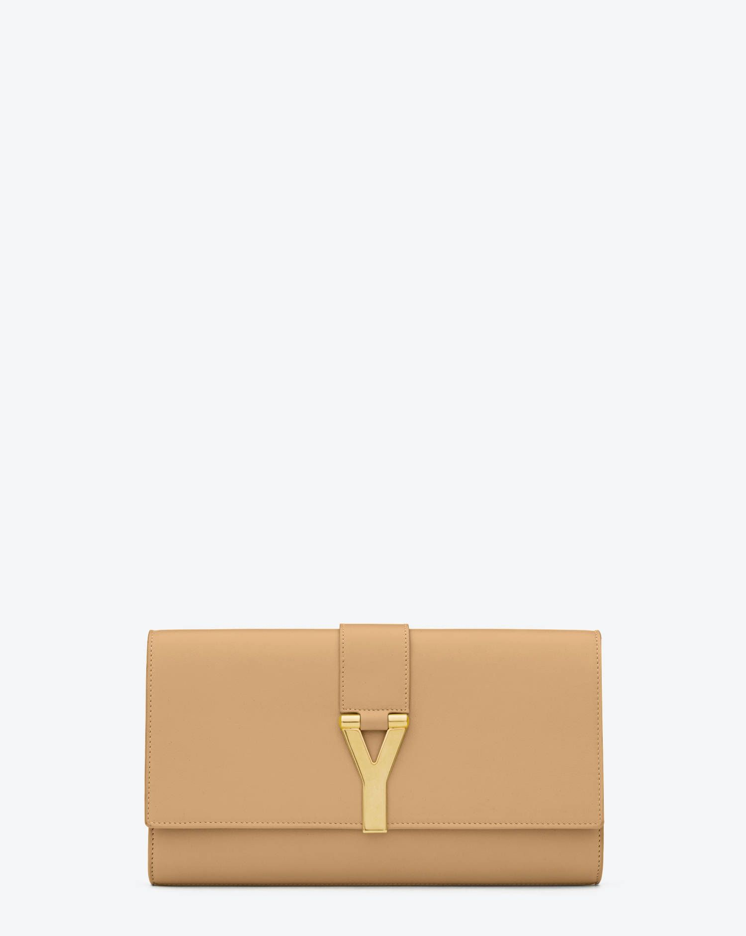 4b38f3aaab3 Y Clutch in Beige Leather - Y Clutches – Handbags – Previous Collection – Yves  Saint Laurent – www.ysl.com