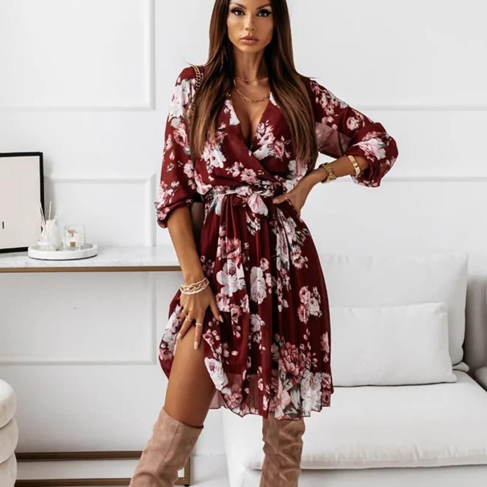 Autumn Winter Long Floral Print Dress Robe for Women 2021 Casual Long Sleeve Split Dress Female Boho Elegant Maxi Party Vestidos - 9066-Burgundy / XL