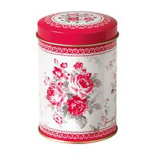 Tin Flour Shaker Coco Red Floral H9cm By Greengate Of Denmark New
