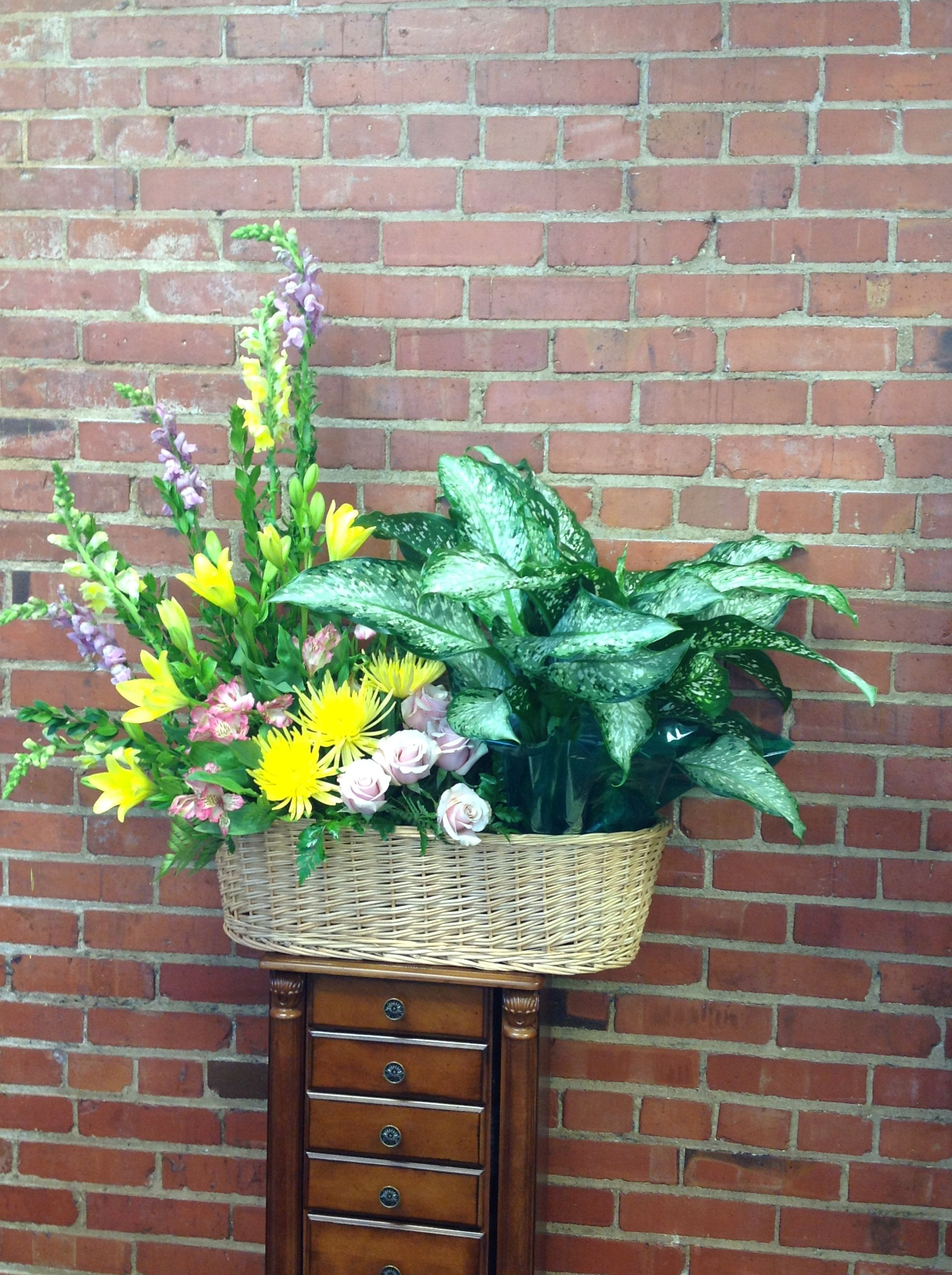 Green Plant With Pastel Flowers In A Peanut Basket Funeral