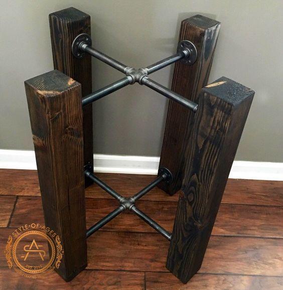table base wood beam iron pipe round square dining custom m bel pinterest. Black Bedroom Furniture Sets. Home Design Ideas