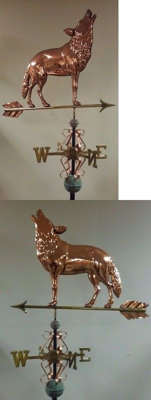 Coyote Wolf Majestic Copper Weathervane As Shown No Roof Mount Ebay Lightning Rod Weathervanes Copper