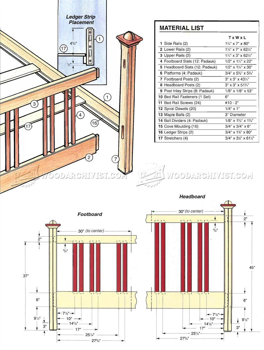 #2439 Bed Frame Plans - Furniture Plans