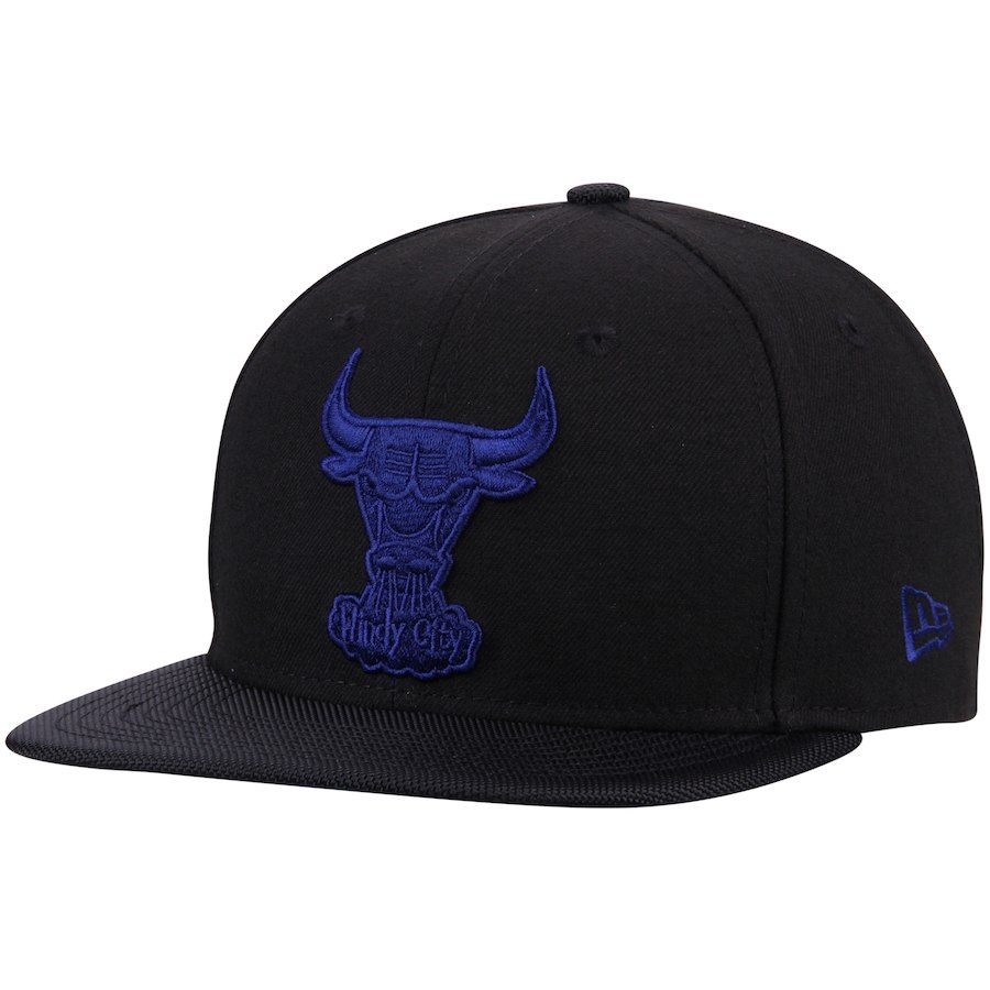 6e62cfeca70 Men s Chicago Bulls New Era Black Space Hook 9FIFTY Adjustable Snapback Hat