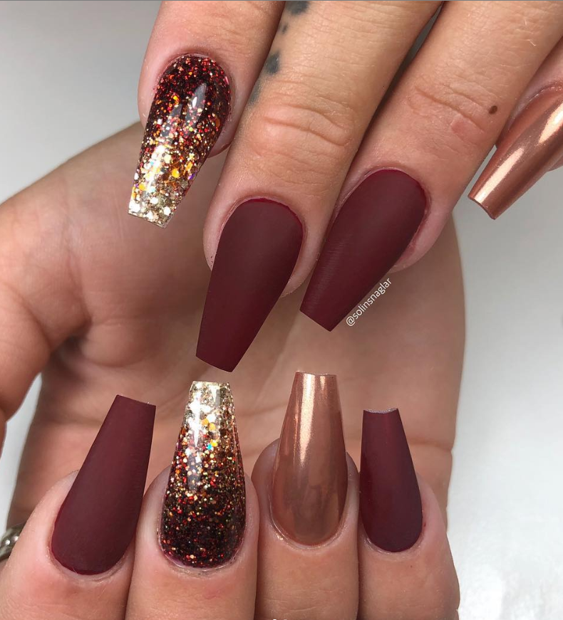 46 Elegant Acrylic Ombre Burgundy Coffin Nails Design For Short And Long Nails Burgundy Nails Red Acrylic Nails Red Stiletto Nails