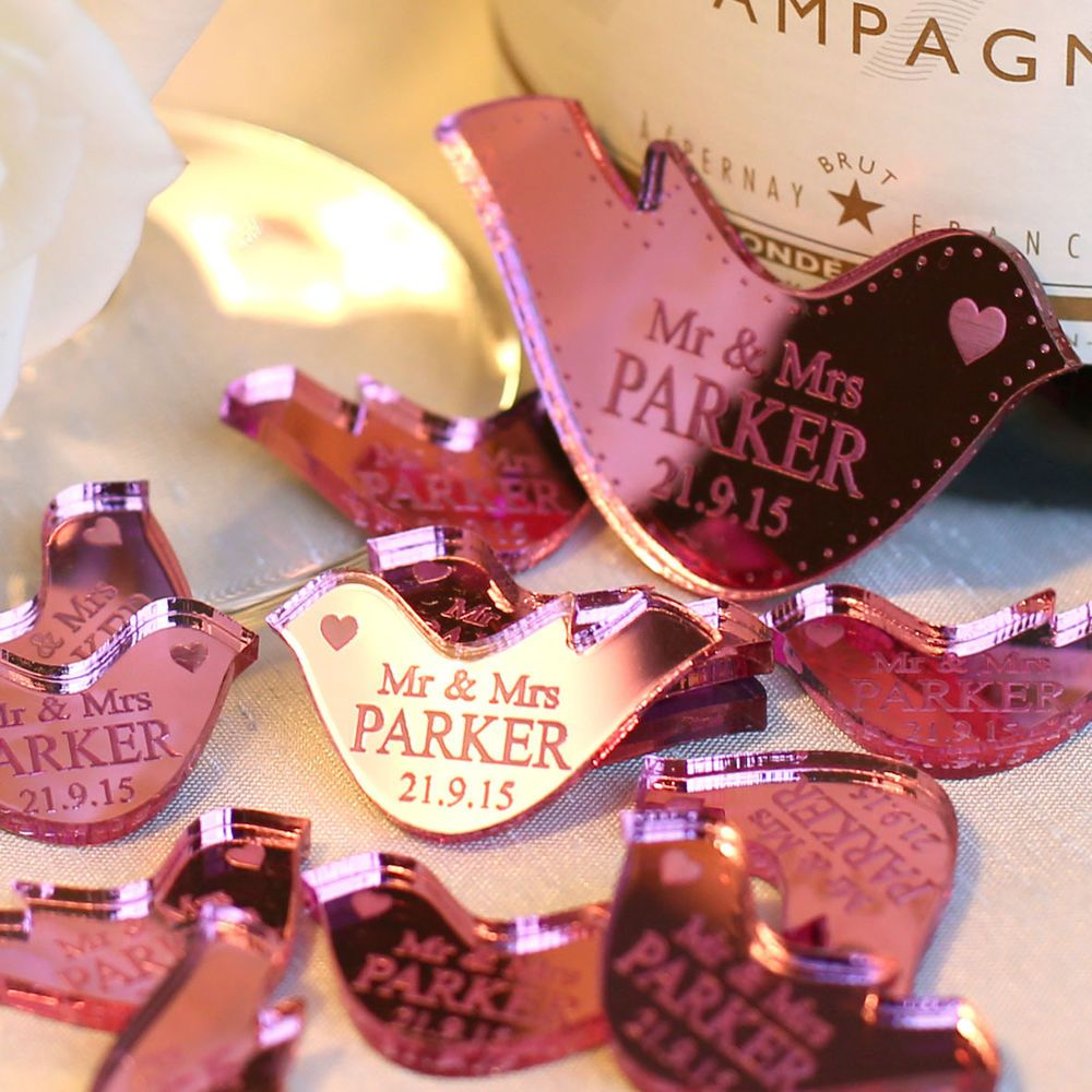 Personalised Mr & Mrs Love Heart Doves Wedding Table Decoration ...