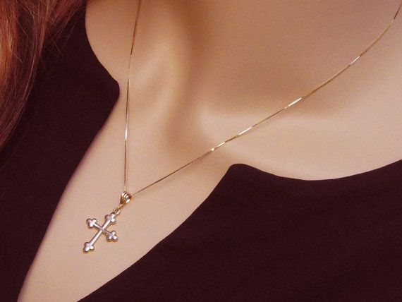 Gold Cross Solid 14kt Yellow Gold Necklace by PowersThatBead