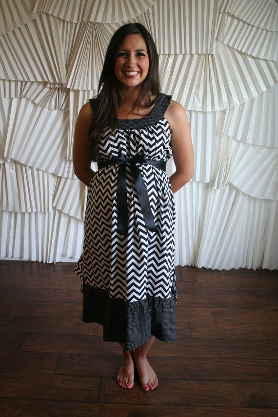 Maternity Hospital Labor Gown-Black CHEVRON with Ruffle, and ...