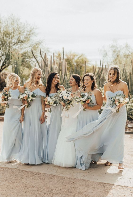 Bit of blue mix and match chiffon bridesmaid dresses for spring
