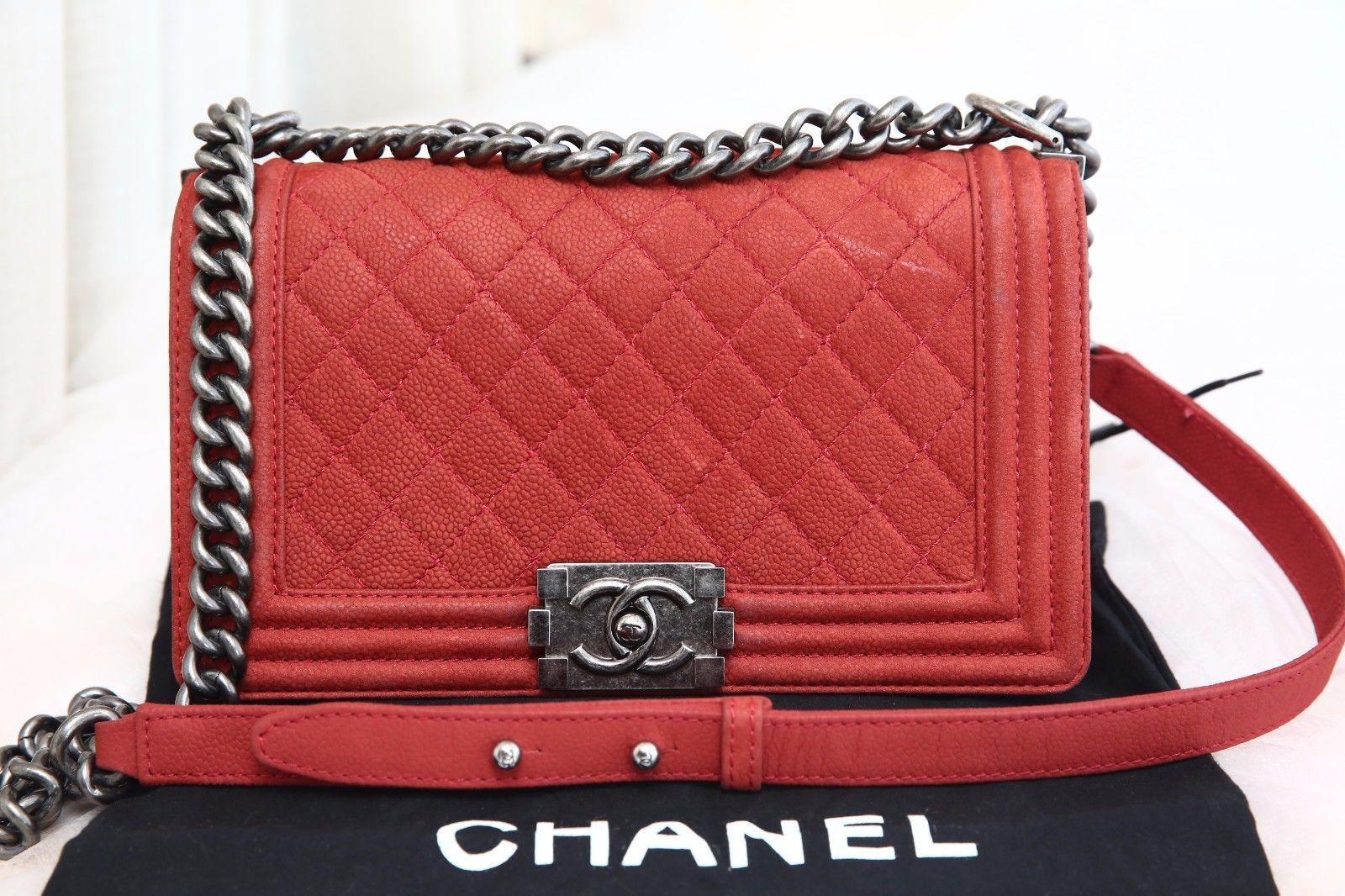 3ce0fbcdfe6d VERIFIED Authentic Rare Calfskin Chanel Matte Caviar Red Medium Le Boy Flap  Bag $2699.0