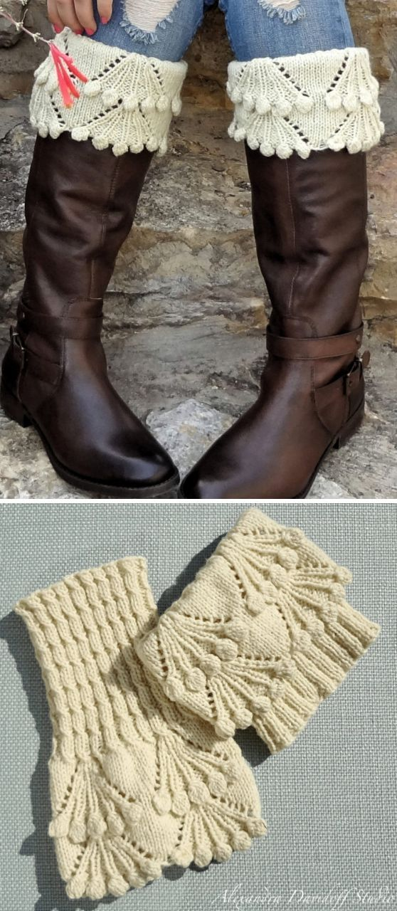 Knitting Pattern For Eleanor Boot Toppers Lace And Bobble Cuffs