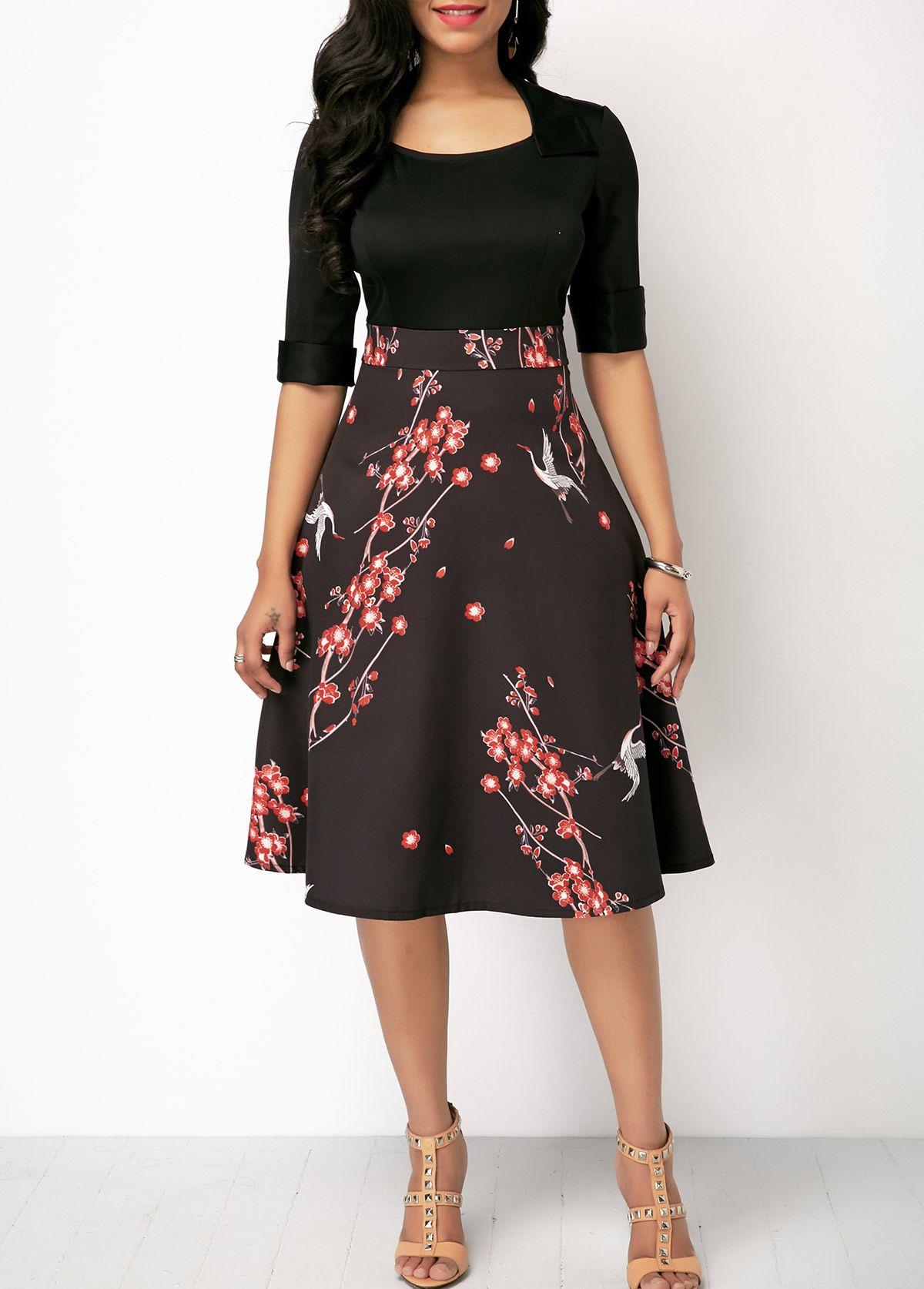 8c13bad309 Black Half Sleeve High Waist Printed Dress