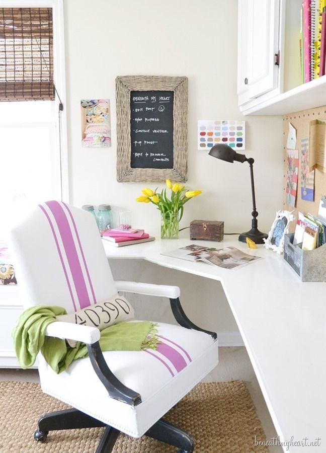 Painted Leather Office Chair Radiant Orchid With Images Diy Office Decor Home Office Design Home Office Space