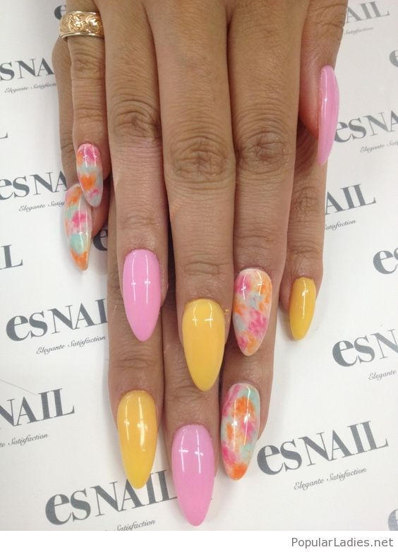Pink And Yellow Gel Nails Design Gel Nails Stiletto Nails