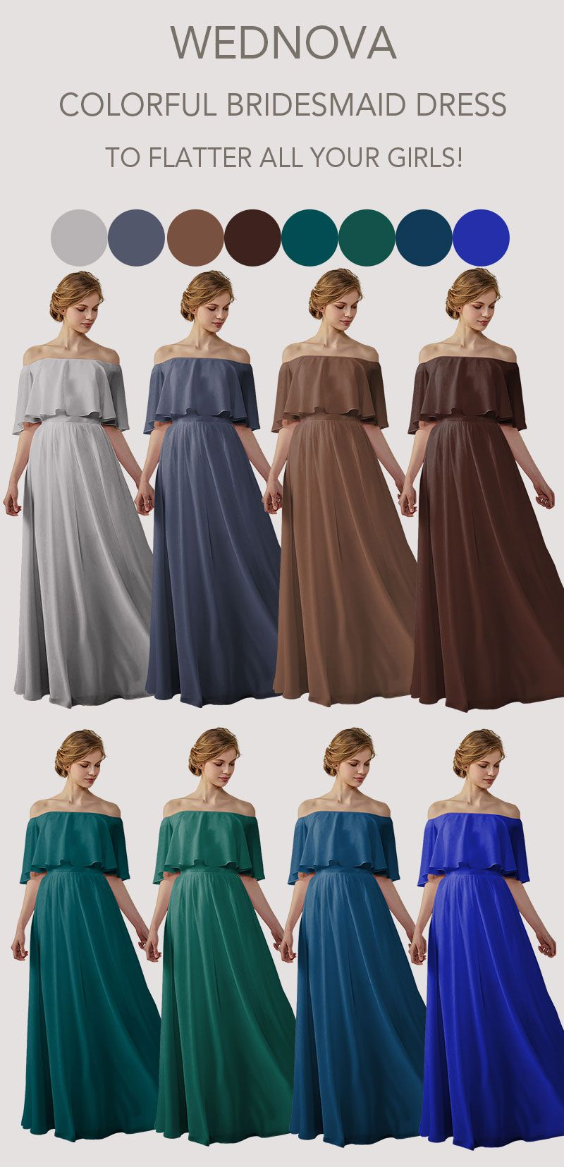 Lovely chiffon bridesmaid dress a line brown dress long boho stormy
