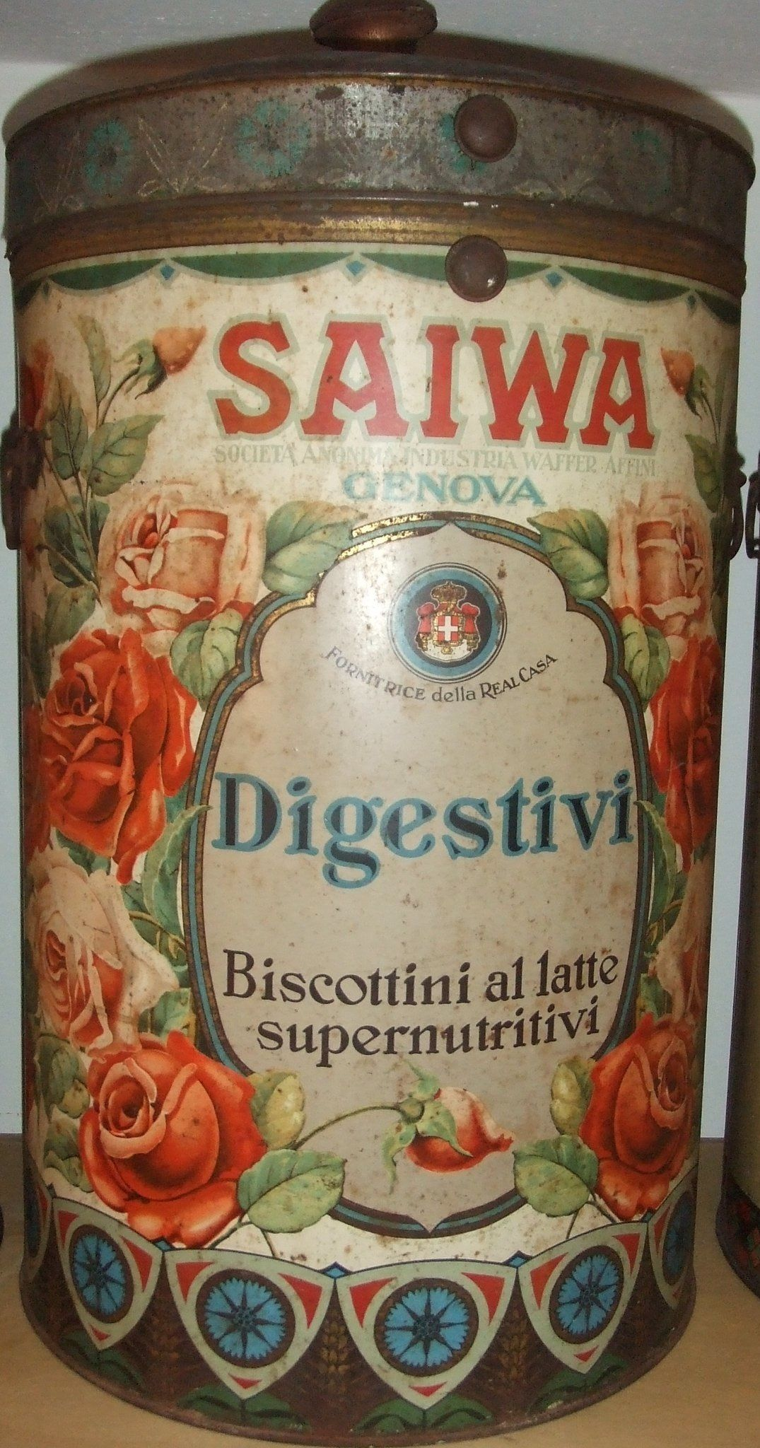 Vintage Gläser Saiwa Italian Biscuit Tin Tin Boxes Cool Jars Glasses Tin