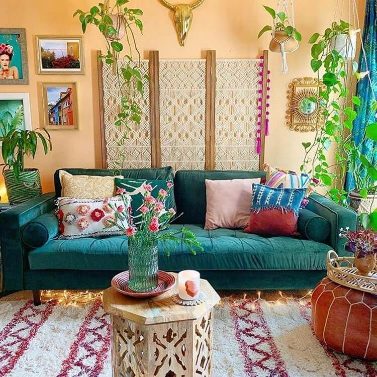 The Inside Arrangement Weaves Laid Back Comfortable Climate With Engaging Indications From Around The Living Room Designs Trending Decor Bohemian Living Room